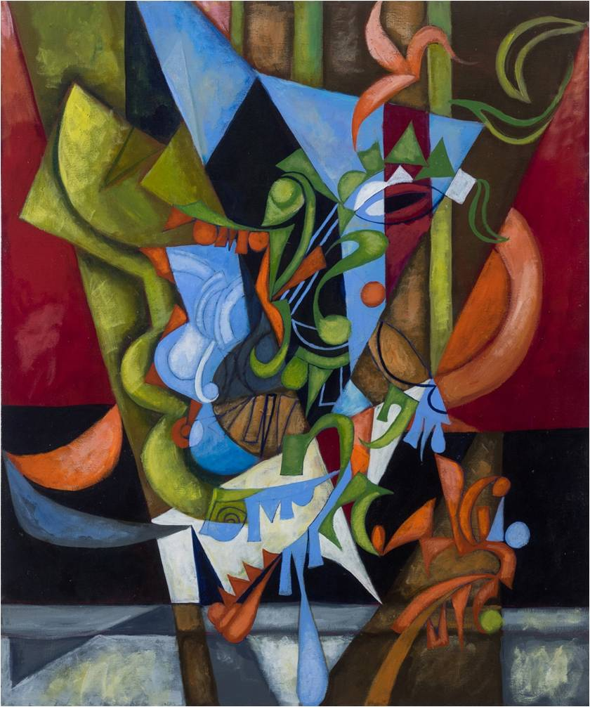 Plant with guitar, by Cedric Michael Cox, 36 x 30 inches acrylic on canvas