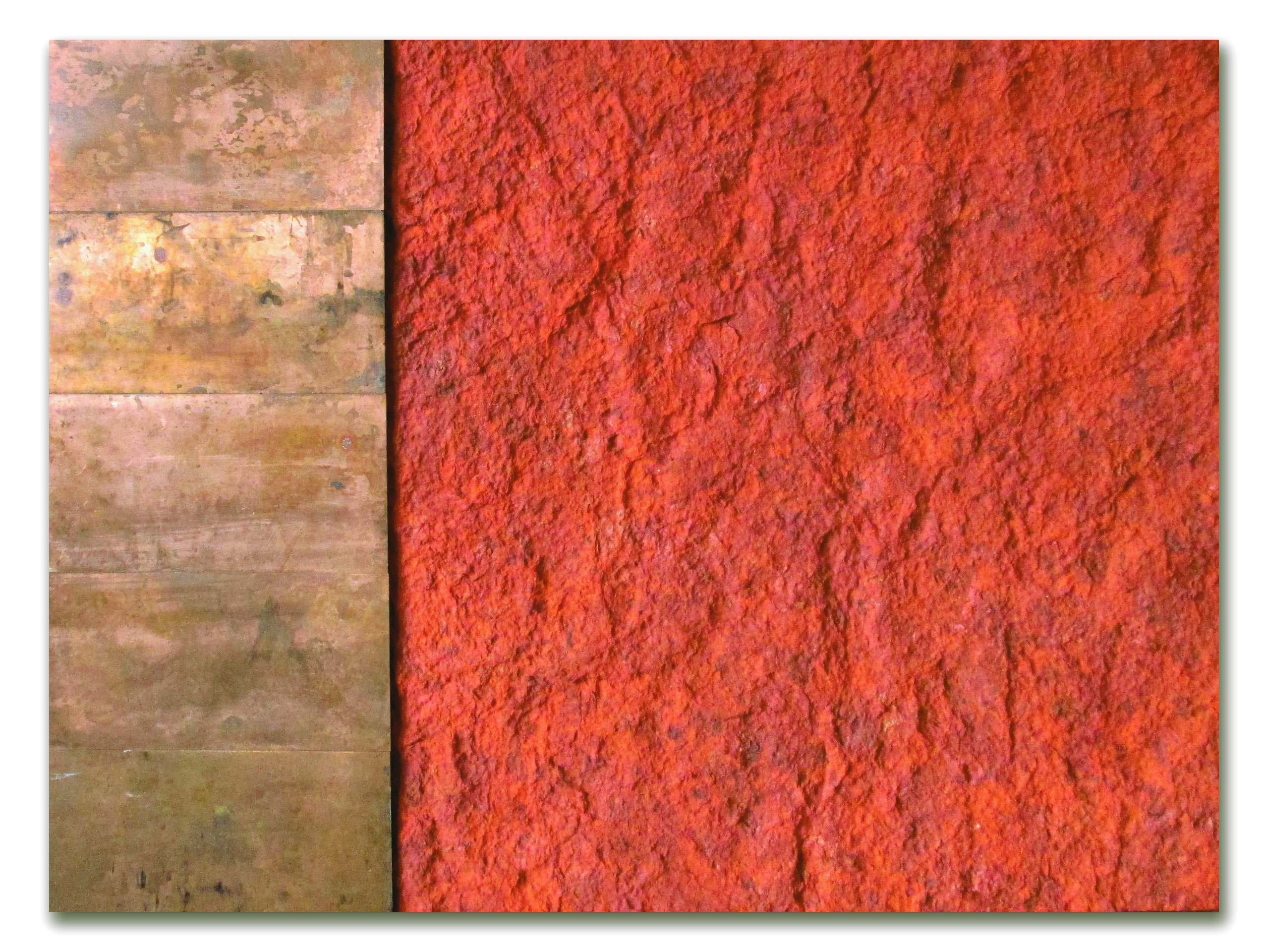 Ellie Winberg_Copper Earth, 30x40, handmade paper with copper plates, patina mounted on canvas