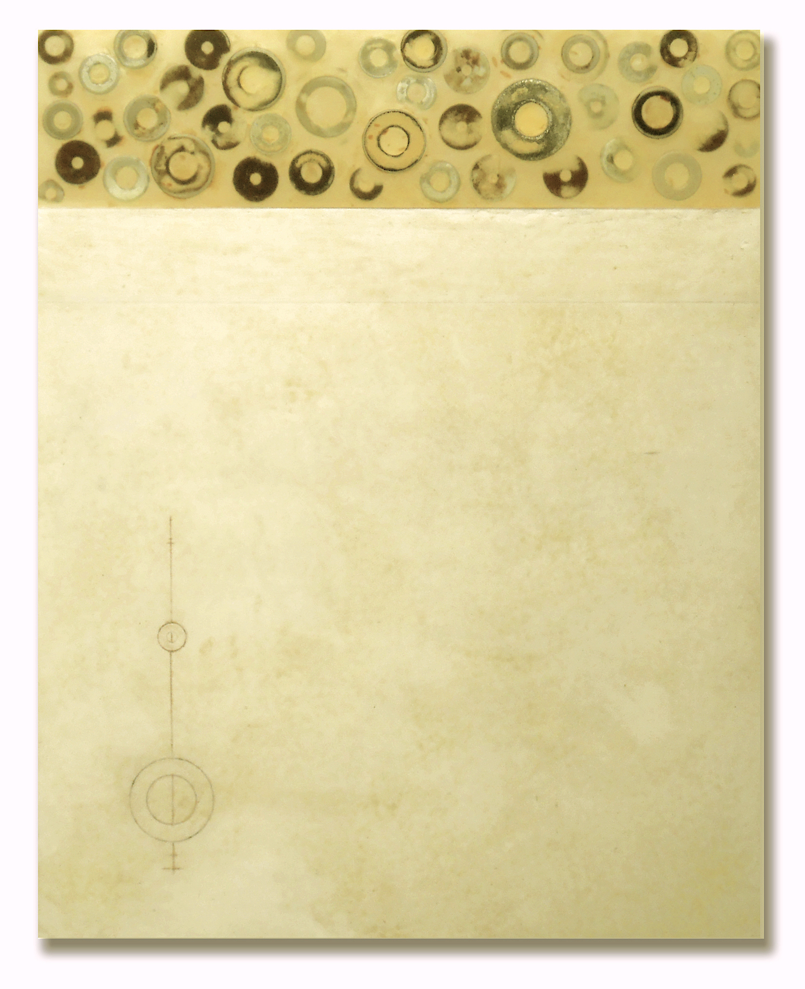 Mauricio Morillas, Compass, 20x16, mixed media with metal rings on wood panel