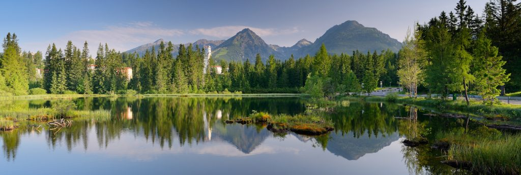 Panorama of mountain lake. Slovakia, the resort Strbske Pleso